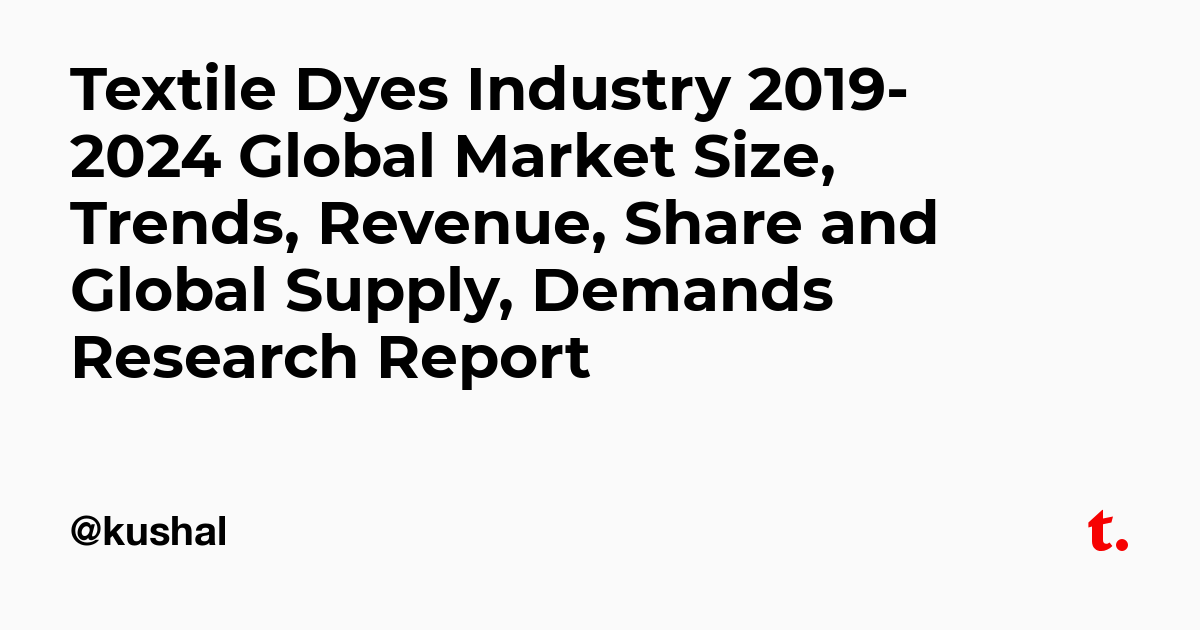 Textile Dyes Industry 2019-2024 Global Market Size, Trends